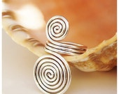 Etruscan swirls Ring - silver plated wire