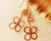 Copper wire - Earrings - Flower