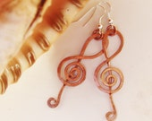 Treble Clef Earrings - Copper wire