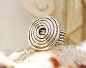 Ring - Silver plated wire - Swirl