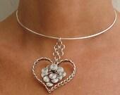 Valentines wire heart Necklace - Braided Little heart with Swirls
