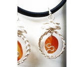 Braided Wrapped Wire Earrings - Amber Murano glass
