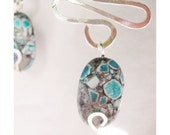 Wire wrapped Glass Earrings - Waves & Millefiori in Turquoise and grey