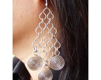 Wire medallion Earrings  - Silver  Waves & 3 swirls