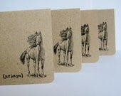 Horse Stationary - Notecard Set of 4 - Handmade Note Cards - Horse, Equestrian