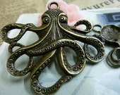 2pcs 56x59mmThe Octopus  Antique Bronze  Charm Pendant