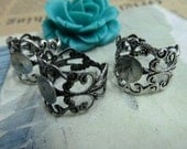 5pcs 8mm Silver color  Can stick flowers ring base setting C1232