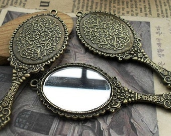 6 pcs 72x34 mm  Antique Bronze the mirror  Pendant Charm