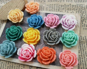 10pcs 23x25mm Mixed Lovely Beautiful Resin  Flower Cameo Cabochon Base Setting Charm Pendant //Hair Pin/Ear Ring