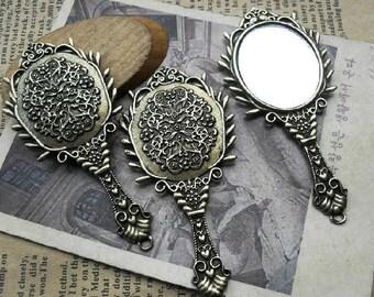 6pcs 34x72mm Antique Bronze Lovely  Mirror  Charms Pendant