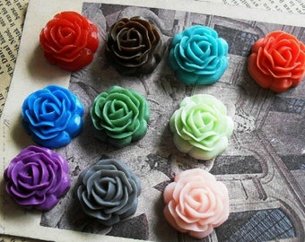10pcs 20mm Mixed Lovely Beautiful Resin Flower Cameo Cabochon Base Setting Pendants Charm Pendant