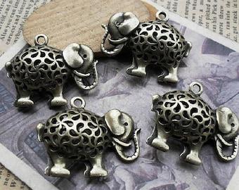 6pcs 12x26x33mm Antique Bronze the  The elephant    Charms Pendant