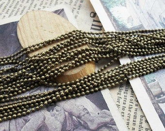 160ft (5m) 1.2-1.5mm Antique Bronze Brass Bead Cable Link Chain