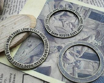 20pcs 35mm The hope love trust  round Antique Bronze  Charm Pendant