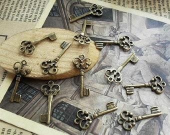 30pcs 9x21mm The Key Antique Bronze  Charm Pendant