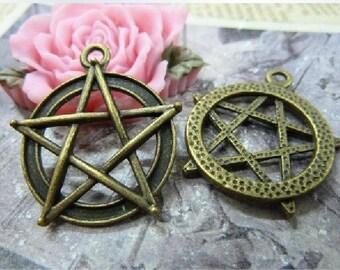 10pcs 28x31mmThe Star Antique Bronze  Charm Pendant