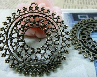 10pcs 40mm The Round Flowers  Antique Bronze Retro Pendant Charm Pendants For Jewelry Pendant