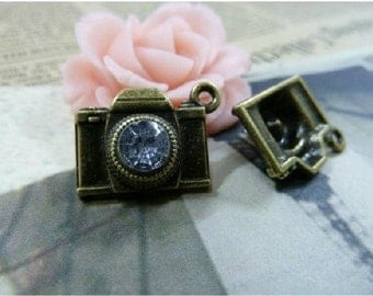 10pcs 8x15x20 mm The Camera Antique Bronze Retro Pendant Charm connector Pendants For Jewelry Pendant