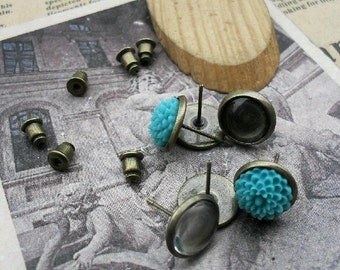 100pcs 10mm  Antique Bronze  Round Cameo Cabochon Base Setting Earring Earposts with 20pcs Earring cap