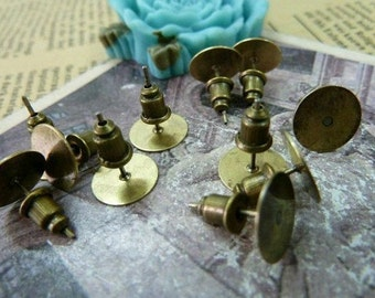 40pcs 10mm  Antique Bronze Brass Round Cameo Cabochon Base Setting Earring Earposts with  Earring cap