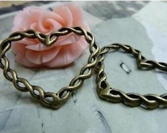 20pcs 28x34mm The Weave Sweet Love Heart Antique Bronze Retro Pendant Charm For Jewelry Pendant C1842