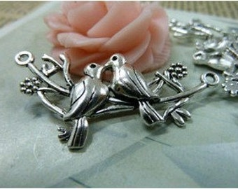10pcs 25x45mm The Two Birds Silver  White Charm For Jewelry Pendant B305