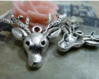 30pcs 30x36mm The Deer Silver  White Charm For Jewelry Pendant B375