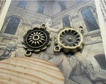 100 pcs 21x28mm  The Flowers  Antique Bronze connector Pendant C130