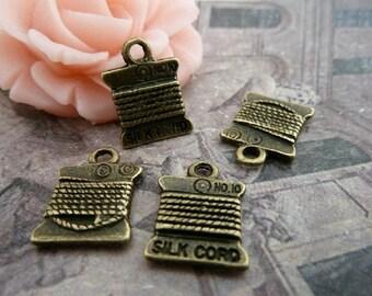 30 pcs11x15 mm The Silk cord Antique Bronze Retro Pendant  Charm For Jewelry Pendant C260