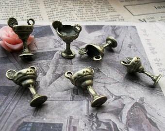 10pcs 14x20mm The Cup and Lemon Antique Bronze Retro Pendant  Charm For Jewelry Pendant C893