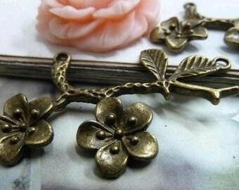 5pcs 34x53mm The  Flower tree Antique Bronze Retro Pendant Charm For Jewelry Pendant C2042
