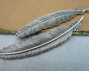 4pcs 20x105mm The Feather Silver Color Retro Pendant Charm For Jewelry /Pendanxt C2713