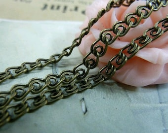 200mm   Antique Bronze Plated Brass Twisted Cross Chains E1021