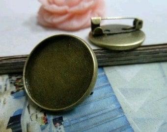 10 pcs 20mm Antique Bronze  brooch Cameo Base Setting Tray Blanks Pendants C2077