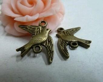 30pcs 22x18mm The Bird Antique Bronze Retro Pendant  Charm For Jewelry Pendant C2058