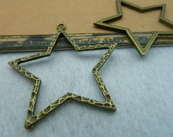 10pcs 43x45mm The Pentagram Antique Bronze Retro Pendant  Charm For Jewelry Pendant C2156