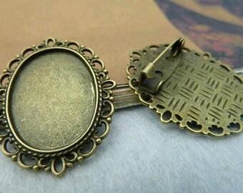 10 pcs 18x25mm Antique Bronze elliptic  brooch Cameo Base Setting Tray Blanks Pendants