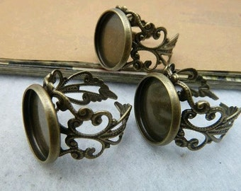 10pcs 12mm Antique Bronze  Cameo Cabochon Base Setting Rings C2092