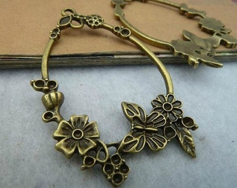 10 pcs 36x56mm The Flower Ring Antique Bronze Retro Pendant Charm For Jewelry Pendant C1248