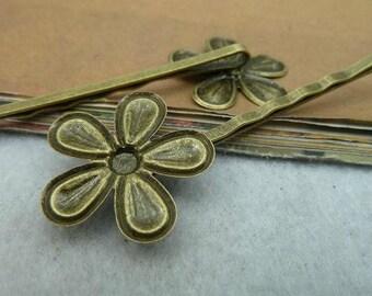 10pcs 24x65mm Flower Antique Bronze Lovely  Pin Hairpin C2478