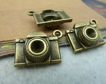 20pcs 8x15x20mm The Camera Antique Bronze Retro Pendant Charm  Pendants For Jewelry Pendants C2552