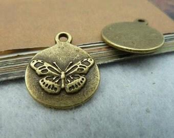 20pcs 17x20mm The Butterfly Antique Bronze Retro Pendant Charm For Jewelry Pendant C2447