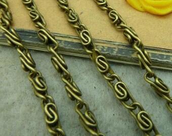 16feet  2.5x3mm Antique Bronze Plated Brass Twisted Cross Chains E1038
