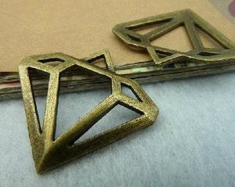 10pcs 28x30mm The Diamond  Antique Bronze Retro Pendant Charm For Jewelry Pendant C2668
