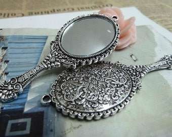 2 pcs 30x74mm The Mirror Silver color Pendant Charm For Jewelry Pendant C751-2