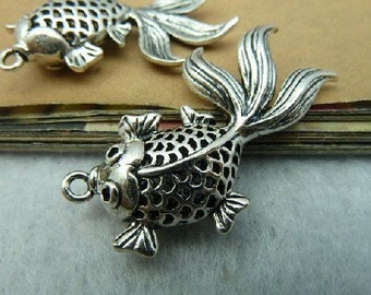 3 pcs 22x34mm The Goldfish Silver color Pendant Charm For Jewelry Pendant C2686