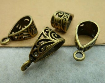 100pcs 10x20mm Antique Bronze Jewelry Connector Bails- Great For Scrabble Tile Pendants And Glass Pendants  Connector C2793
