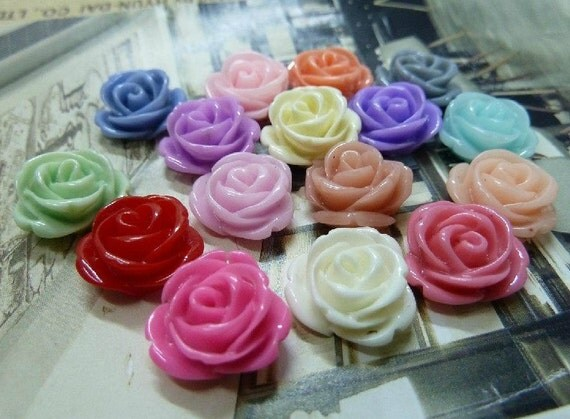 50pcs 10mm Mixed Lovely Beautiful Resin  Flower Cameo Cabochon Base Setting Pendants Charm Pendant