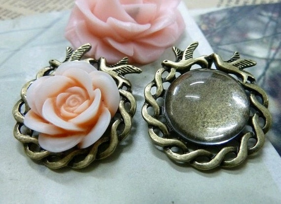 10 pcs 18mm Two Birds Cool Antique Bronze Cameo Base Setting Tray Blanks Pendants