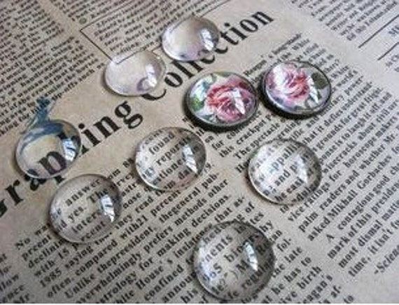 40pcs 20mm Clear Glass Transparent Clear Oblate Cabochon Cameo Cover Cabs